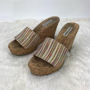 Steve Madden Platform Slide Sandals Tribal Stripe